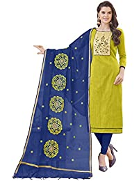 Women'S Green Semi Stitched Embroidered Banglori Cotton Dress Material