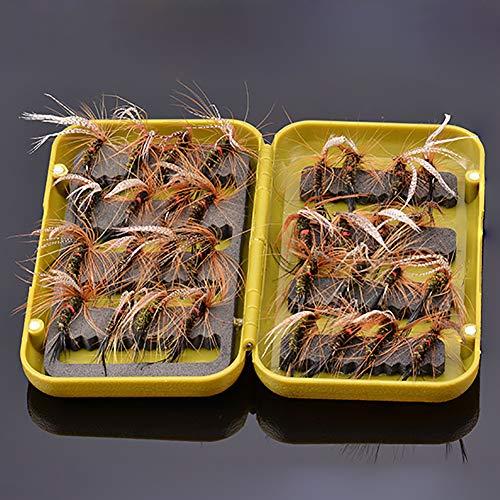 NEWSHOT Fliegenfischen Trout Fliegen Pfauenfedern Größe 10 Set 32 Stück Fliegen mit Fliegenbox zum Forellenangeln
