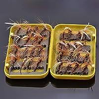 NEWSHOT Moscas secas de Pesca con Mosca Peacock tamaño 10 Juego de 32 Moscas con Caja de Mosca para Pesca de Trucha