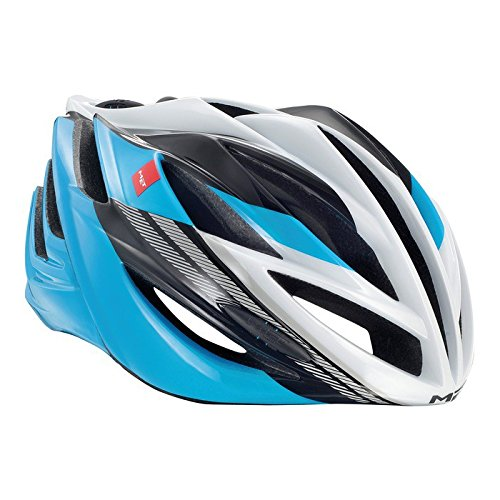 Met Forte Casco de Ciclismo, Unisex Adulto, Blanco,Azul,Negro, 52-59 cm
