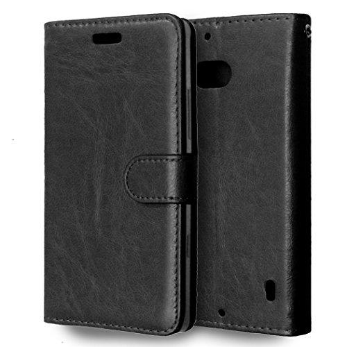Casefirst nokia lumia 930 custodia, antiurto custodia in pelle flip caso card slot case portafoglio antiscivolo protezione cover in pelle per nokia lumia 930 (nero)