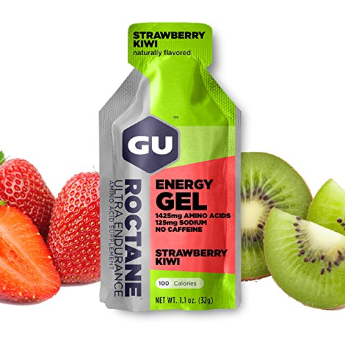 GU Roctane Ultra Endurance Energy Gel, Strawberry Kiwi (Erbeer Kiwi), Box mit 24 x 32 g
