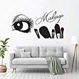 zqyjhkou Make-up Beauty Salon Wandtattoos Wimpern Augenbrauen Vinyl Wandaufkleber Make-up Pinsel...