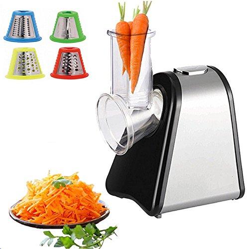 elektro gemueseschneider Elektrischer Gemüsehobel | Küchenmaschine | Küchenreibe | Multifunktionsreibe | Gemüse Raspel | 200 Watt | Trommeln aus Edelstahl | 4 Aufsätze |