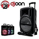 Enceinte 12' 500W DJOON MyDJ à LED RVB Mobile sur batterie Bluetooth USB SD Micro + Tél