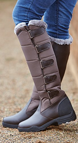 BROGINI FORTE WINTER LONG HORSE RIDING COUNTRY BOOTS BROWN FAUX FUR LINED