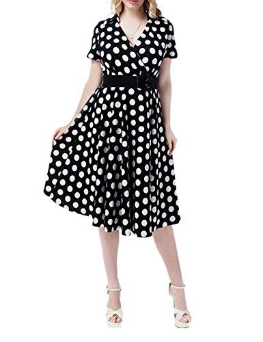 Kleid Plus 50s Größe (VKStar® A-Linie Vintage 1950s Sommer Damen Kurz Arm V-Ausschnitt Tupfen plus Größe Kleid Audrey Hepburn Style Rockabilly Swing Abendkleid Cocktail Partykleid)