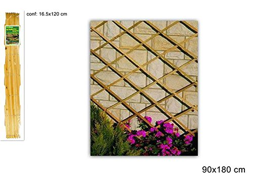 Vetrineinrete® traliccio estensibile in legno per piante rampicanti grigliato in legno per decorazione giardino gazebo veranda balcone per fiori rose edera vasi varie misure (180 x 90) f28