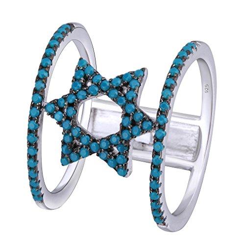 YAZILIND Kreative Sterne Räder 925 Sterling Silber Ringe Blau Türkis Versprechen Ringe Für Mädchen