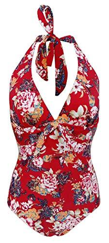 Bslingerie® Damen Sexy Durchschauen Monokini Badeanzug Bademode (Rote Blumen, S)