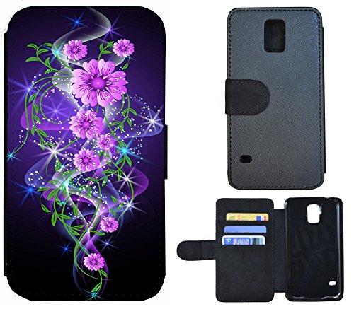 Coque Flip Cover Housse Etui Case Pour, Tissu Plastique Cuir, 1289 Skyline Nacht Blau, Apple iPhone 4 / 4s 1284 Abstract Blume Lila Rosa Schwarz