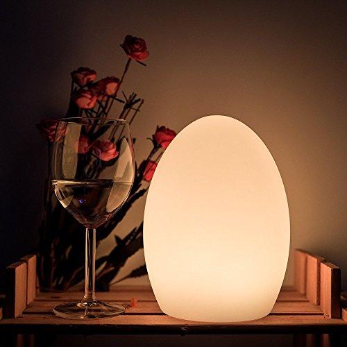 22cm LED Dimmbar Nachttischlampe mit Fernbedienung, Ei-Form Licht Farbwechsel Stimmungslicht Ei-Nachtlicht Tischlampe für Kinderzimmer mit Wiederaufladbar Batterie und 16 RGB Farben