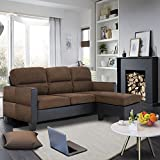 Wellgarden Modern 3 Seater Corner Sofa Faux Leather and Fabric Sofa L Shaped Left & Right Hand Side Sofa with Footstool (Brown + Brown and Black Armrest)