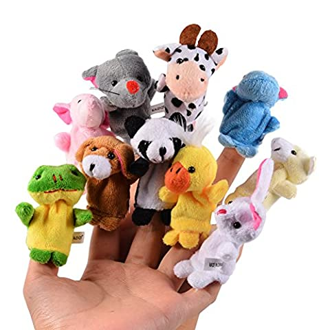 Wingsfun 10 pcs Soft Finger Puppets Hand Puppets Baby Story Time Cute Animal Velvet Finger Puppet Set For Toddlers Baby