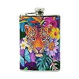 Jeansame - Botellas personalizadas de acero inoxidable para hombre y mujer, diseño de flores, diseño de tigre y animales tropicales