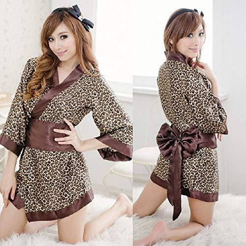 Leopard-print-kimono (JQ Sexy Dessous-Spiel Sexy Uniform Leopard-Print Japanischer Kimono Sexy Dessous-Kleid Wild)