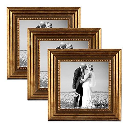 PHOTOLINI 3er Set Bilderrahmen 15x15 cm Gold Barock Antik Massivholz mit Glasscheibe und...