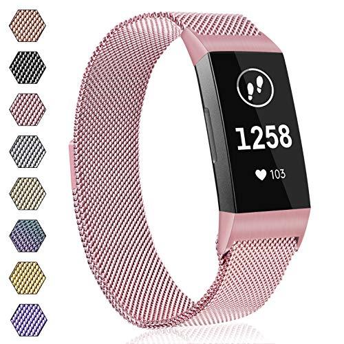AK Armband für Fitbit Charge 3 Armband, Metall Ersatz Fitness Armbänder Voll Einstellbare mit Starkem Magneten Sperren für Fitbit Charge 3 (02 Rosa, S)