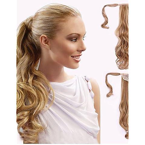 BBDM eccellente qualità sintetico clip lunga ricci 18 pollici in parrucchino coda di cavallo , (Clip In Parrucchino)