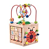 PovKeever 7-in-1 Activity Cube Toy, Bead Maze Toy Play Center Wooden Toy Playset