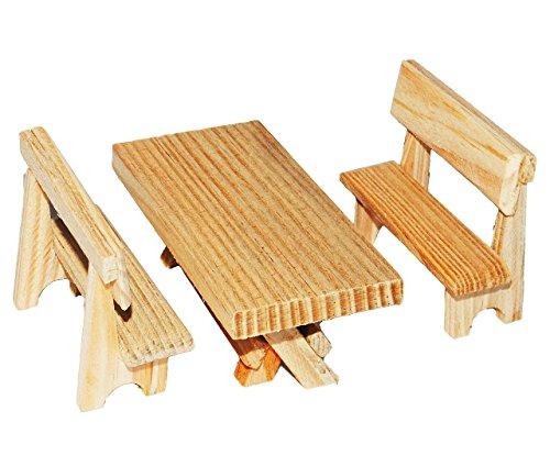 3 tlg. Set: Tisch + 2 Bänke aus hellem Holz - Miniatur / Maßstab 1:12 - z.B. als Gartenmöbel Möbel - Zubehör Puppenstube / Puppenhaus - Küchenbank / Gartenbank Sitzbank Küchenmöbel oder Garten