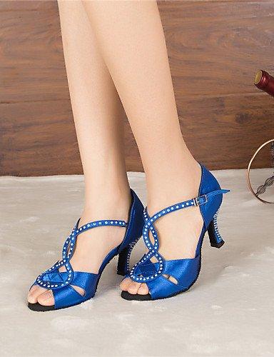 La mode moderne Sandales femmes personnalisables Chaussures de danse Jazz Latino/Salsa/Samba/chaussures talon sur mesure en satin noir/bleu Rhinestone US8.5/EU39/UK6.5/CN40