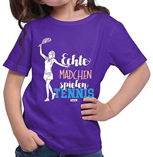 HARIZ  Mädchen T-Shirt Echte Mädchen Tennis Sport Inkl. Geschenk Karte Lila 140/9-11 Jahre
