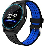 EYUVAA LABELE V9 Bluetooth Touch Screen with Camera Smartwatch, (Black-Blue)