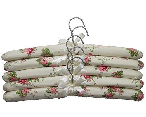 Nopea Kleiderbügel Satin Aufhänger Blumen Print Satin Gepolsterte Kleiderbügel mit Elfenbeinfarbenem Schleife Gepolstert Satin Aufhänger 5 Stück