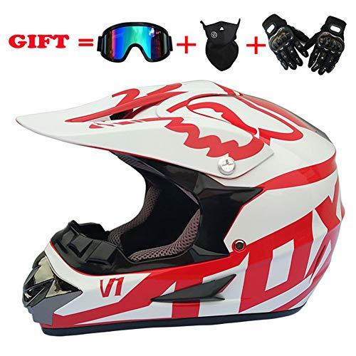 CHXNN Motocross MX Helm,Motocrosshelm Sets mit Brille Handschuhe Maske,MX-Motorradhelm ATV-Roller ATV-Helm Fox-Serie D.O.T Zertifizierter Helm