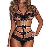 Erotische Unterwäsche, QinMM Frauen Lingerie Puppe Lace Bow Kleid G-String Nachtwäsche (XL, Schwarz)