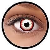 FXEYEZ Farbige Kontaktlinsen schwarz rot weiß Undead Zombie + Linsenbehälter, weich, ohne Stärke als 2er Pack - angenehm zu tragen und perfekt zu Halloween, Karneval, Fasching oder Fasnacht