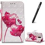 Slynmax Schutzhülle Kompatibel mit Samsung Galaxy S5 Tasche Leder Rot Stand Wallet Case Handyhülle Galaxy S5 Klapphülle Flip Handytasche Lederhülle Kartenfächer Magnetverschluss Brieftasche(Pink)