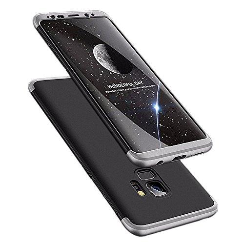 Galaxy s9 Plus Hülle 3 in 1 Handy Hülle Ultra Dünn Hartschale 360 Grad Full Body Schutz Stoßdämpfend Anti-Fingerabdruck Glatte Griff Hybrid Etui Bumper Case Cover (Galaxy S9, Schwarz und Silber)
