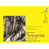 Strathmore 300 Series Newsprint 18''x24'' Off-White Fine Grain 52 GSM Paper, Short-Side Tape Bound Pad of 100 Sheets
