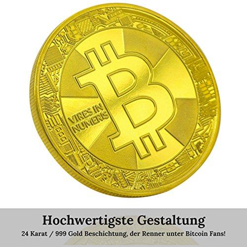 Bitcoin Münze Gold – 24 Karat Gold Beschichtung, Design 2017 aus Deutschland, hochwertige Optik, schwere Qualität, ideal als Geschenk oder Glücksbringer - 3