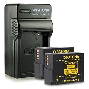 Nouveauté - 4en1 Chargeur + 2x Batterie comme DMW-BLC12 E pour Panasonic Lumix DMC-FZ200 | DMC-GH2 - Leica V-Lux 4