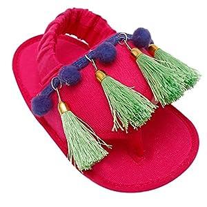 D'chica Latest Footwear Fancy Hoisery Fabric Tassle Love Crib Slippers For Baby Girls Fuschia