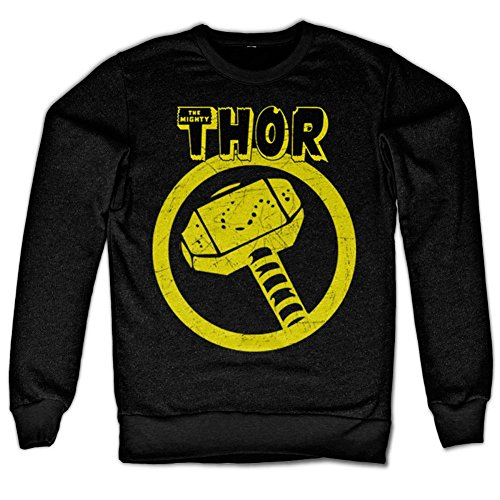 Thor Distressed Hammer Sweatshirt (Black), XX-Large