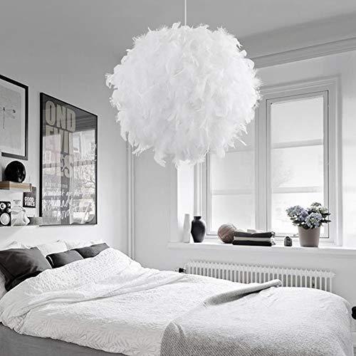 WSDF E27 Global Plafonnier Plafonnier Moderne Style Nordique Romantique Lustre avec Abat-Jour Plume Décoration Maison Salon Chambre Salle à Manger, Blanc, Small