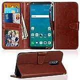 LG Stylo 4Fall, asstar [Ständer Funktion] Premium PU Leder Flip Schutzhülle mit Kreditkarte Slot Halter stoßfest Hülle Schutzhülle Case Cover für LG Stylo 42018, Braun
