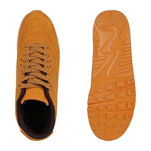 Herren Sportschuhe Leder-Optik | Sneakers Velours Glitzer | Metallic Runners | Freizeitschuhe Schnürer Hellbraun Weiss