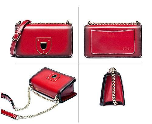 Xinmaoyuan Borse donna catena spalla borsa Messenger Bag Pu sezione trasversale quadrata,Nero Rosso