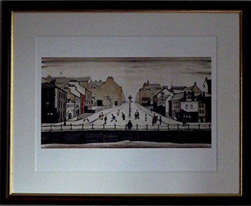 L S Lowry Spezialität Druck/Bild-senhouse ST, Maryport-auf einem Leinen Struktur Medium, Walnut Finish Frame With Soft White Mount And Large Image, 20 x 16inch -