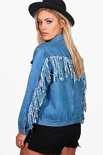 Damen Blau Plus Freya Extrem Zerrissene Und Ausgefranste Jacke Aus Denim Blau