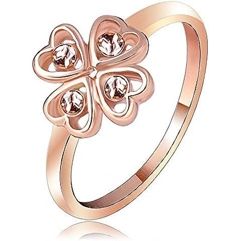AnaZoz Joyería de Moda Rosa Cristal Austria SWA Elements Anillo 18K Chapado en Oro Rosa Corazón Trébol Afortunado Anillo