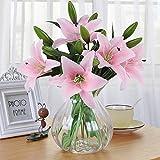 Fiori Artificiali, Meiwo 5 Pcs Real Touch Lattice Lilies Artificiali Fiori in Vasi Mazzo di Nozze / Decorazione Casa / Partito / Graves Arrangiamento(Rosa)
