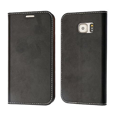 Coque Samsung Galaxy S6 Edge, Mobest Étui Housse en Cuir Samsung Galaxy S6 Edge, Portefeuille Folio Coque de Protection avec emplacement de cartes, Option Stand Pour Samsung Galaxy S6 Edge - Noir