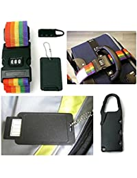DEZIINE Adjustable Suitcase Luggage Straps Travel Buckle Baggage Tie Down Belt Lock 3 In 1 Travel Security Kit...