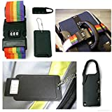 #7: DEZIINE Adjustable Suitcase Luggage Straps Travel Buckle Baggage Tie Down Belt Lock 3 in 1 Travel Security Kit Resettable Combination Padlock Set Locks + Belt Strap + ID Tag-Assorted color